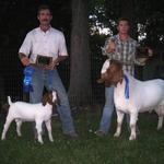 Deringer wins Overall Grand Champion Buck and Assassin (his buck kid) wins Overall Res Grand Champion Buck in the other show......... Great Fathers Day gift from my son, Michael, and Deringer's son, Assassin..........
